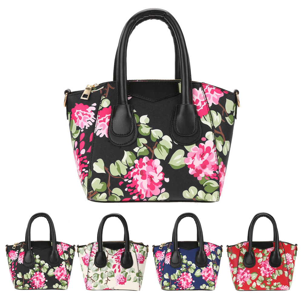 New Korean Floral Printed PU Leather Tote Ladies Fashion Shopping Large Crossbody Bag Women ...