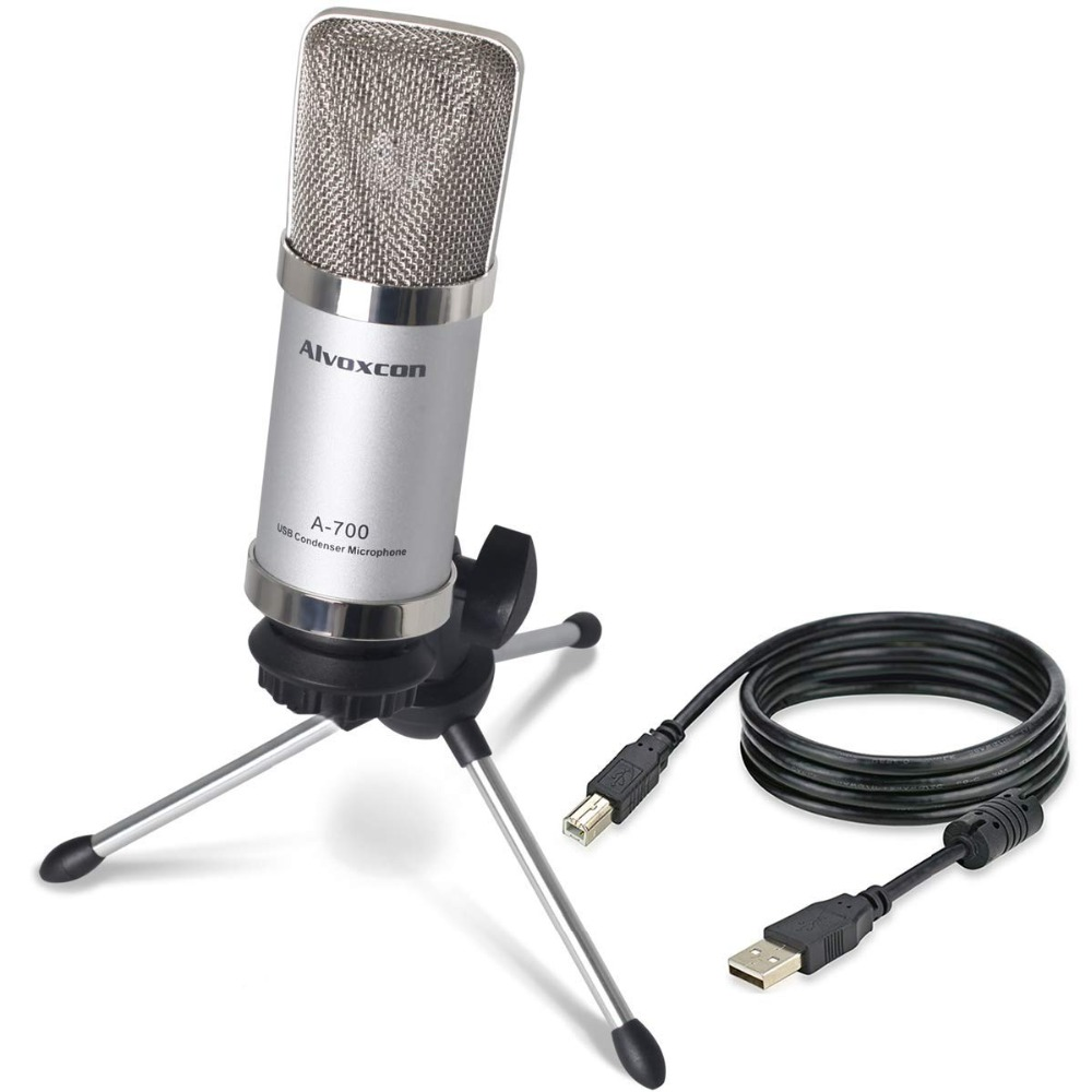 alvoxcon usb condenser microphone for computer pc laptop mac windows cardioid for podcast. Black Bedroom Furniture Sets. Home Design Ideas