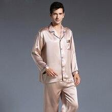 Новинка Для мужчин Шелковая пижама комплект осень с длинным рукавом пижамы Для мужчин шелковые пижамы мягкие уютные для сна Бесплатная доставка