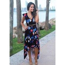 JSMY 2019 New Summer Fashion Women Petal Sleeve Lace Stitching V-neck Print Swallowtail Dress