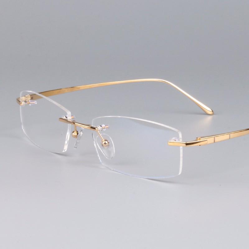 homens e Mulheres Designer De Óculos Sem Aro de Titânio Puro de Luz Quadro  da Qualidade b0603fa2fb