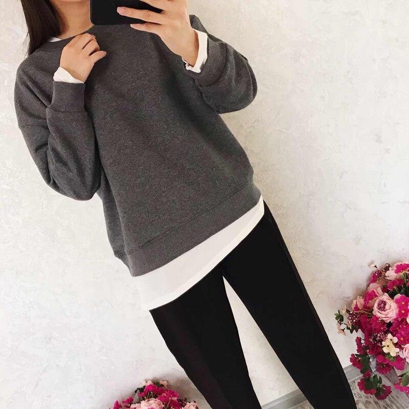 2019 Autumn Women's Sweatshirt Casual Solid Color Loose Fake Two-piece Sweatshirt