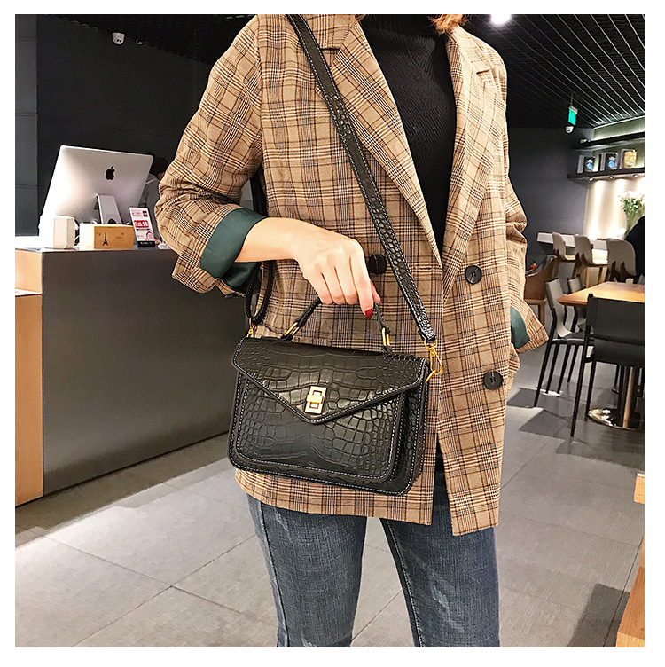 MJ Women Messenger Bag Fashion Crocodile Pattern PU Leather Female Small Handbag Tote Bags Crossbody Shoulder Bag for Girls (11)