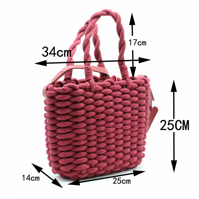 Thick Cotton Rope Straw Bag Women Fashion Woven Handbag Solid Color Female Square Shoulder Bag Beach Bags bolsa feminina A4 in Shoulder Bags from Luggage Bags