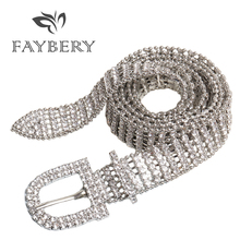 Luxury Diamonds Rhinestone Women Belts for Crystal Female Strap Bling Bright Full Waist