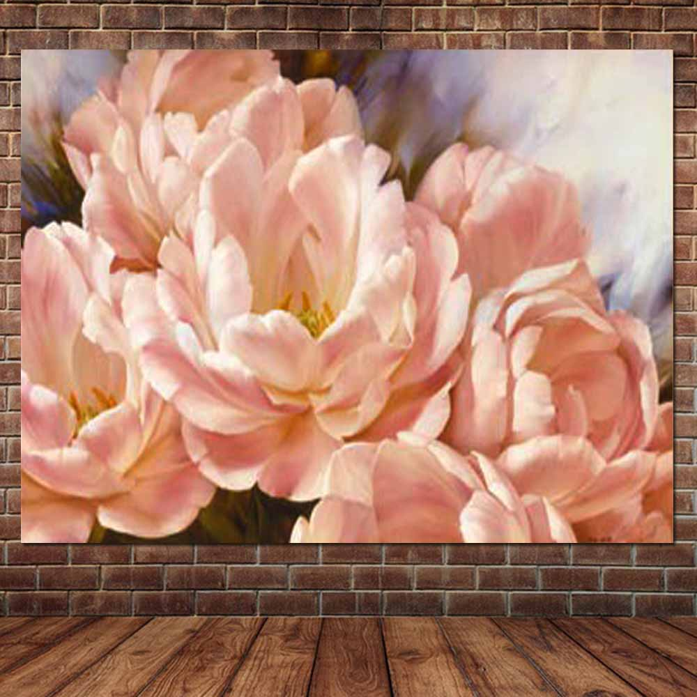 Hand Painted Pink Blooming Peony Flower Oil Painting On Canvas