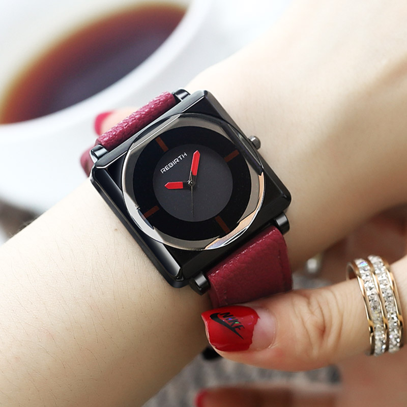 Simple Square Dial Watches Women Contracted Red Black Leather Watch Elegant Ladies Buckle Quartz Wristwatches Montre