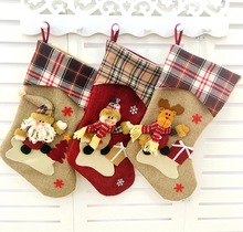 2016 Christmas Stocking Sequins Socks Shining Xmas Tree Oranment Gift Bag Santa Cluas, Snowman and Elk