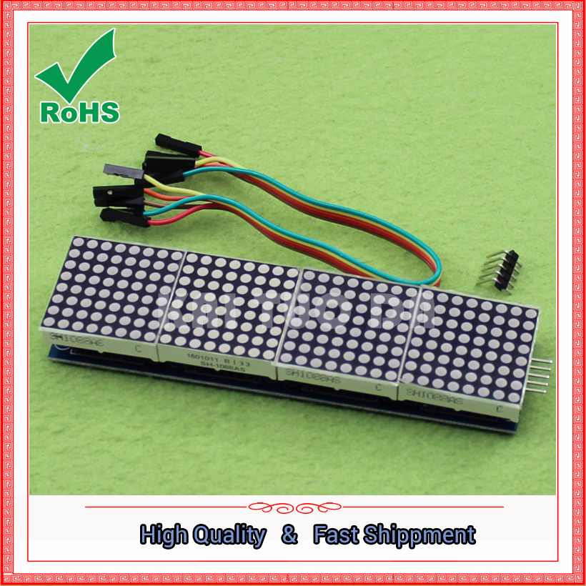 The MAX7219 dot matrix module controls the microcontroller module 4 to show the 5P line (H6A4)