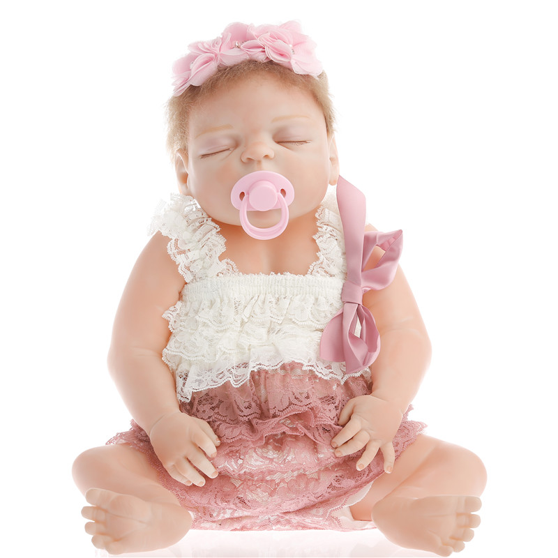 SanyDoll 22 inch 55 cm Silicone reborn dolls,Beautiful meat and lace clothing fashion lovely sleeping doll festival gifts