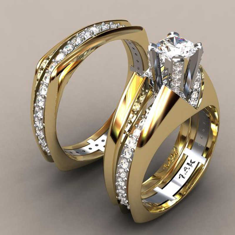 2Pcs/set Luxury Brand Round Engagement Rings Sets For Women Crystal Gold Color Romantic Wedding Men Ring Jewelry H3M015