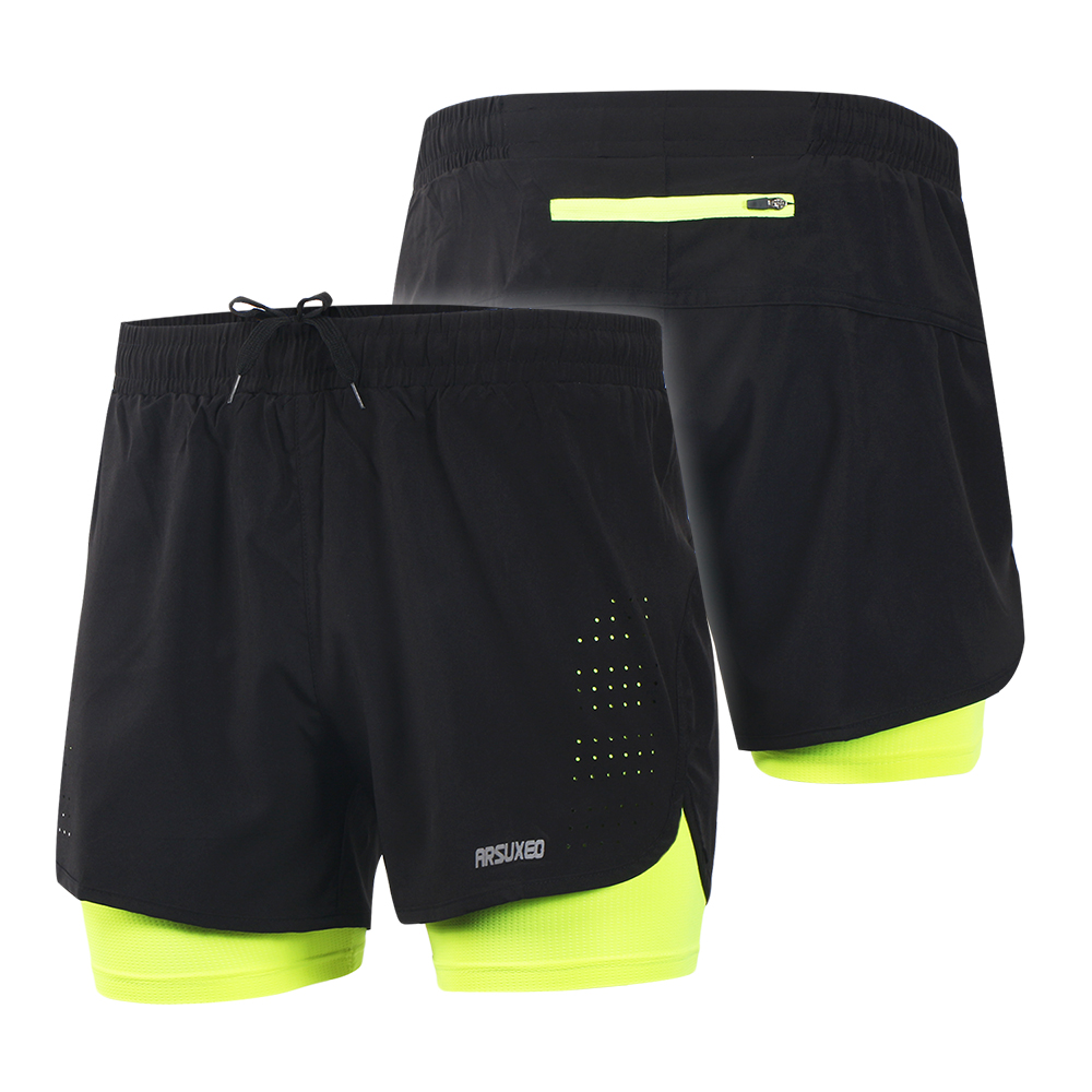 c5ccb9d664c Arsuxeo Men s 2 in 1 Cycling Shorts Quick Drying Breathable Active Training  Exercise Jogging Running Shorts Longer Liner-in Cycling Shorts from Sports  ...
