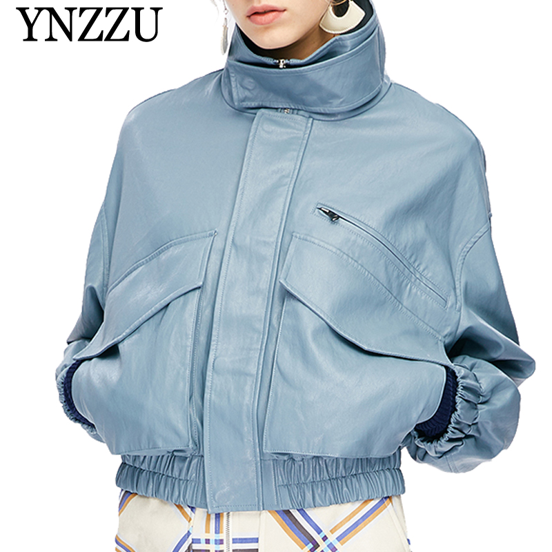 YNZZU Fashion Blue PU   leather   Jacket Coat Female 2019 Spring Casual Stand Collar Loose Jacket Outerwear Faux   leather   Coat YO758