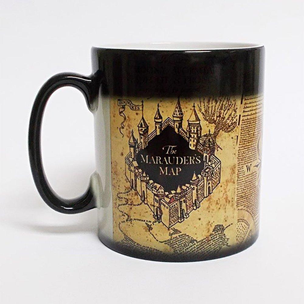 Taza mágica creativa, interesante taza bebida caliente taza cambiante del Color Pot ter Marauder mapa Mischief Managed vino té creativo Gif