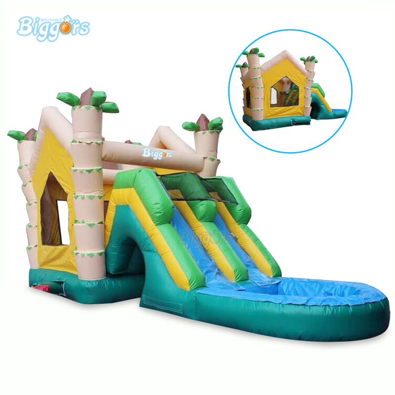 PVC Commercial Inflatable Water Pool Slide Inflatable Double Slide Pool With Air Blower And Repair Kit commercial grade inflatable water game park inflatables double slide with pool for kids and adult on sale