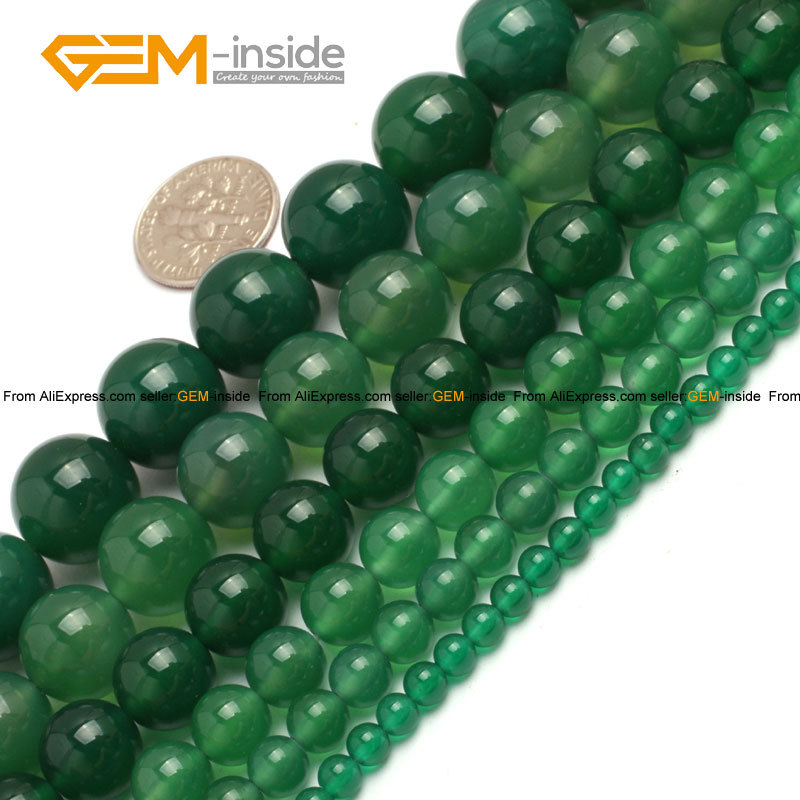 Gem-inside 4-14mm Natural Round Green Agates Beads For Jewelry Making Bracelet Necklace Earring 15 DIY Jewellery Gift