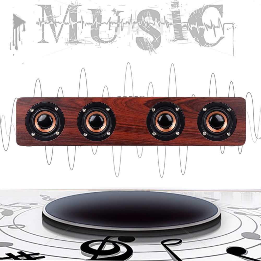 Wood Grain Bluetooth Speaker Four Loudspeakers Super Bass Subwoofer Portable Hands-free Soundbar with Mic 3.5mm AUX-in
