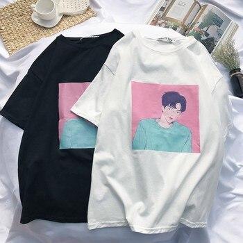 2018 Harajuku Japanese Street T-shirt Character Print Fashion Wild 2 Color  Summer Style tshirt