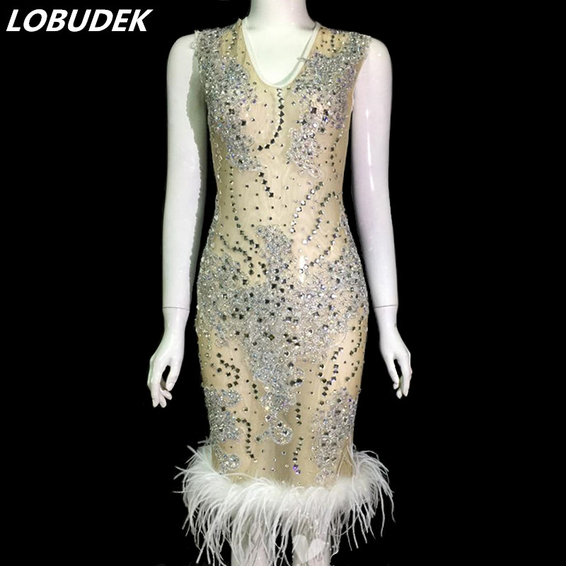 Manches Blanc Costume Sexy Mesh Discothèque De Danse See through Perspective Plume Cristaux Robe Strass Hôte Chanteur Sans 8mNwn0