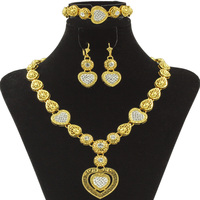 Liffly Dubai Fashion Heart Necklace Luxury Crystal Design High Quality Gold Jewelry Set Italian Lady Bride