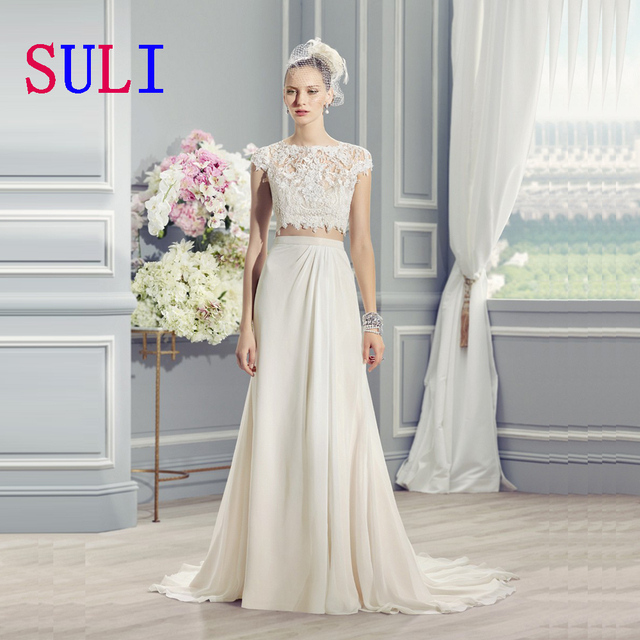SG231 New Sale Beach Two Pieces Wedding Dress Chiffon Open Back Cap Sleeve Lace Small Trail Spring Bridal Gown 2016 Custom Made