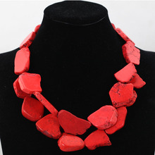 Charming Red Stone Necklace 2 Layers Chunky Bib Stone Stone Party Necklace Jewelry Gift Free Shipping TN149