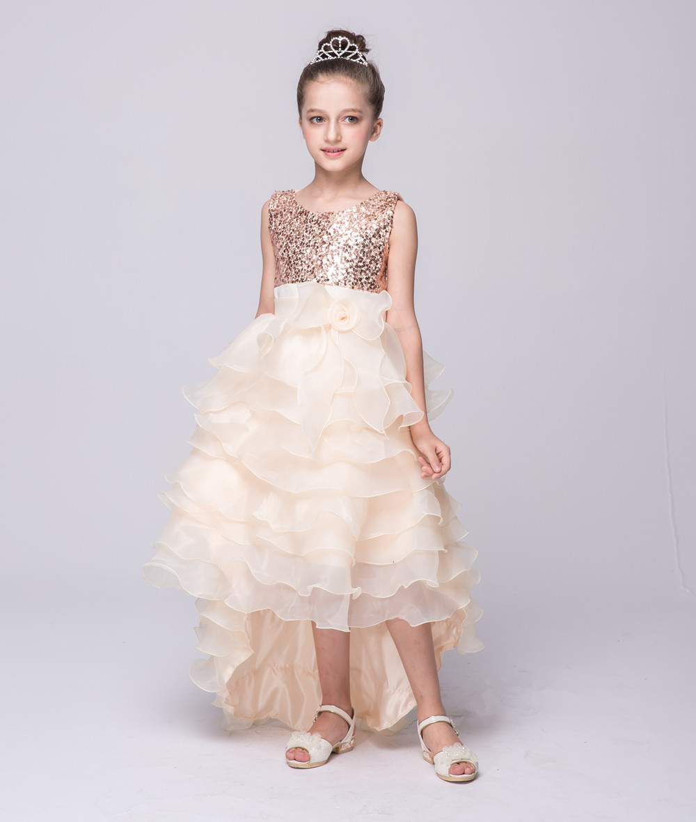 2018 New Kids Party Dresses For 3 To 8 9 10 11 12 Year Old Girls Sequined Short Front Long Back -2453