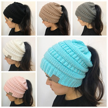 Dropshipping 2018 Winter Women Hat Ladies Girl Stretch Knit Hat With Tag Messy Bun Ponytail Beanie Holey Warm Hats Caps(China)