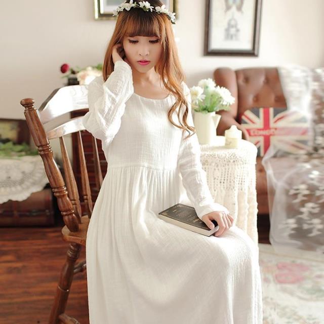 women high quality long white cotton linen nightgown pyjamas prince palace  nightwear pijamas royal vintage sleepwear camisola c1f57c0ec4