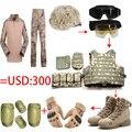 Conjunto completo casco táctico / gafas / chaleco / Camo rana tops pantalones / ee.uu. sello del ejército militar botas de combate del desierto / 4 unids coderas rodilleras