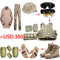 Full set tactical helmet/Glasses/vest/Camo frog tops pants/US Seal Army Gloves/Military Desert Combat Boots/4pcs Knee Elbow Pads