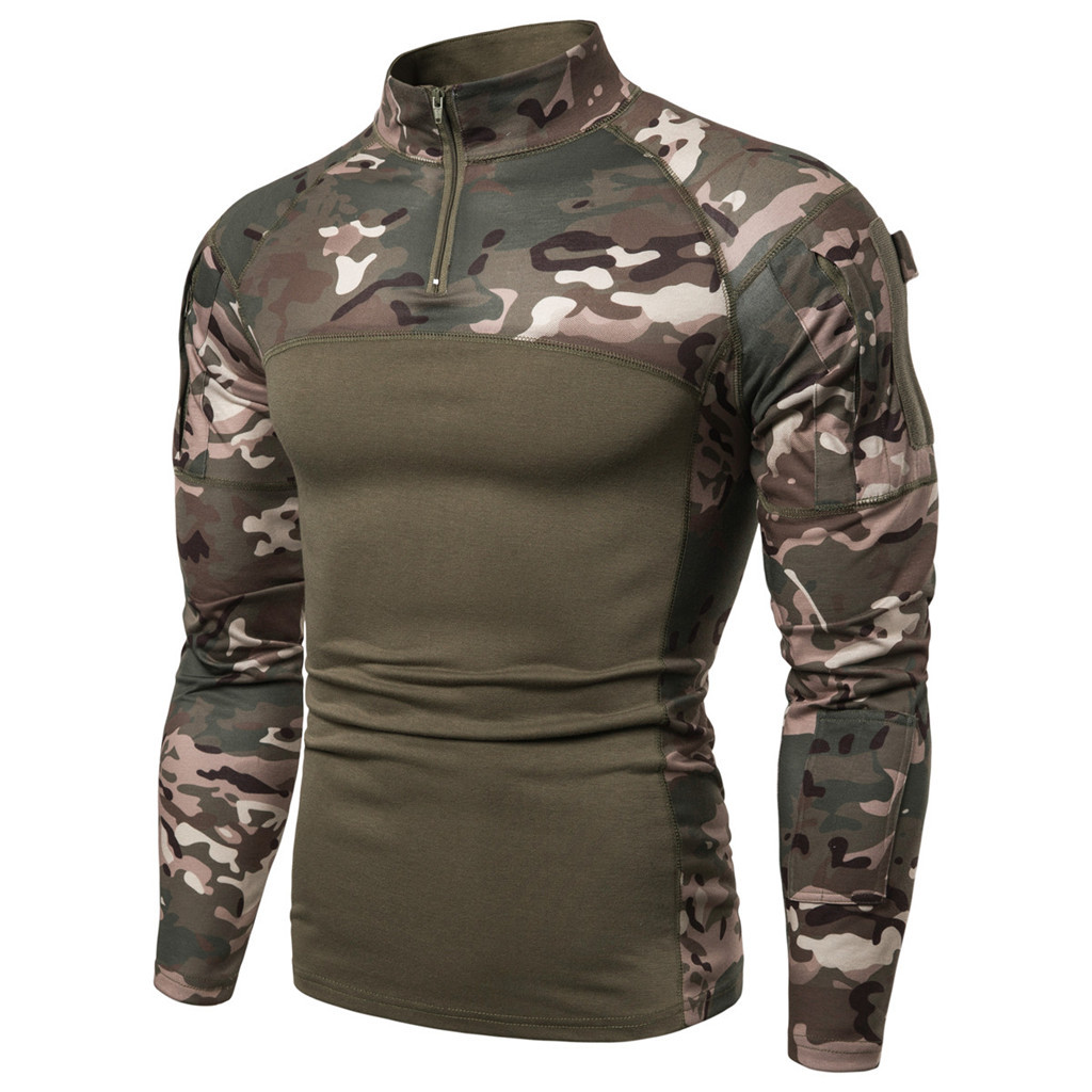 Summer   T     Shirt   Men Outdoor Tactical Camouflage Zipper Camisetas Hombre Men long sleeve Army Combat Camo Camp fitness Tshirt
