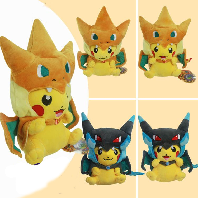 2Pcs Lot 25cm Pokemon Pikachu Cosplay Mega Charizard X Y Plush Toys Cute Pikachu Plush Soft