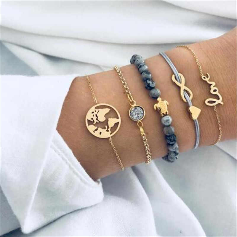 High Quality 5Pcs/ Set Beads Stone Heart Crab Tortoise Adjustable Charm Bracelet Set Women Fashion Party Jewelry Multiple Trendy