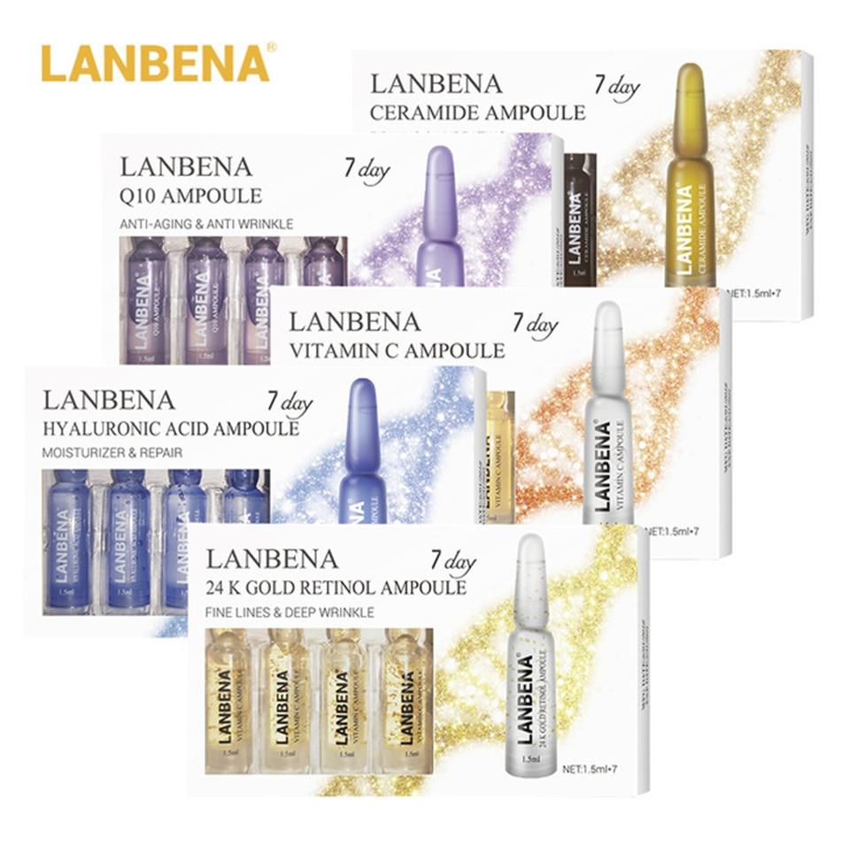 5 Boxes/35 Pcs LANBENA Ampoule Serum Hyaluronic Acid+Vitamin C+24K Gold Retinol +Q10+Ceramide Anti-Aging Wrinkle Moisturizing
