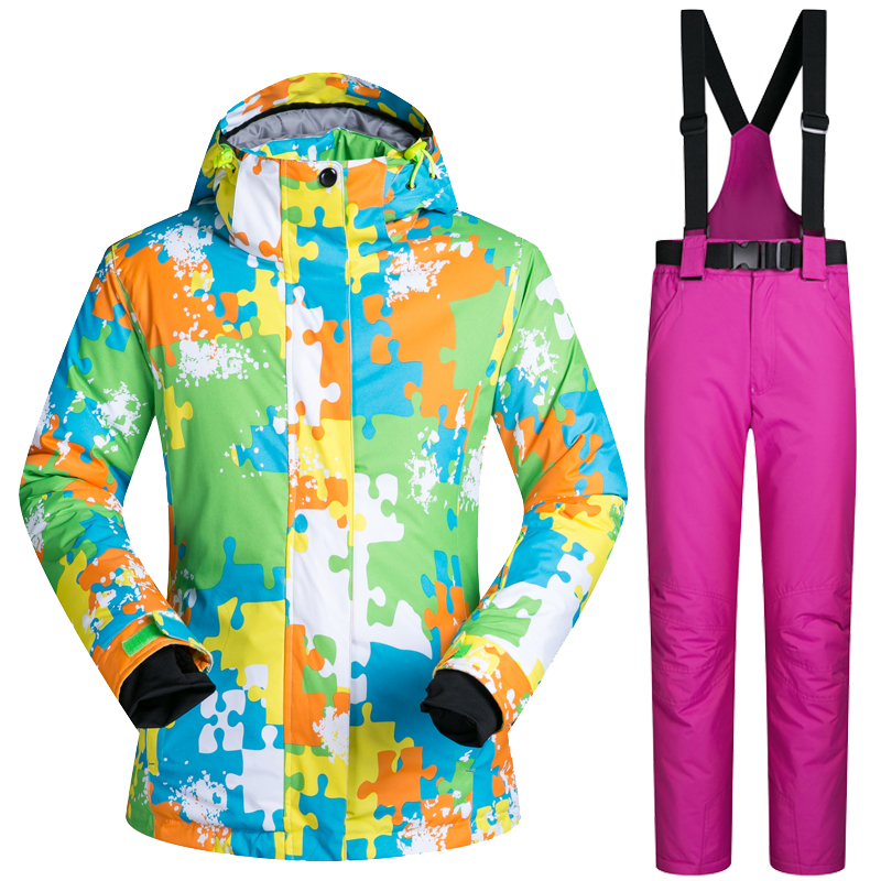 Outdoor Ski Suit Women's Windproof Waterproof Thermal Snowboard Snow Female Skiing Jacket And Pants sets Skiwear Skating Clothes цены