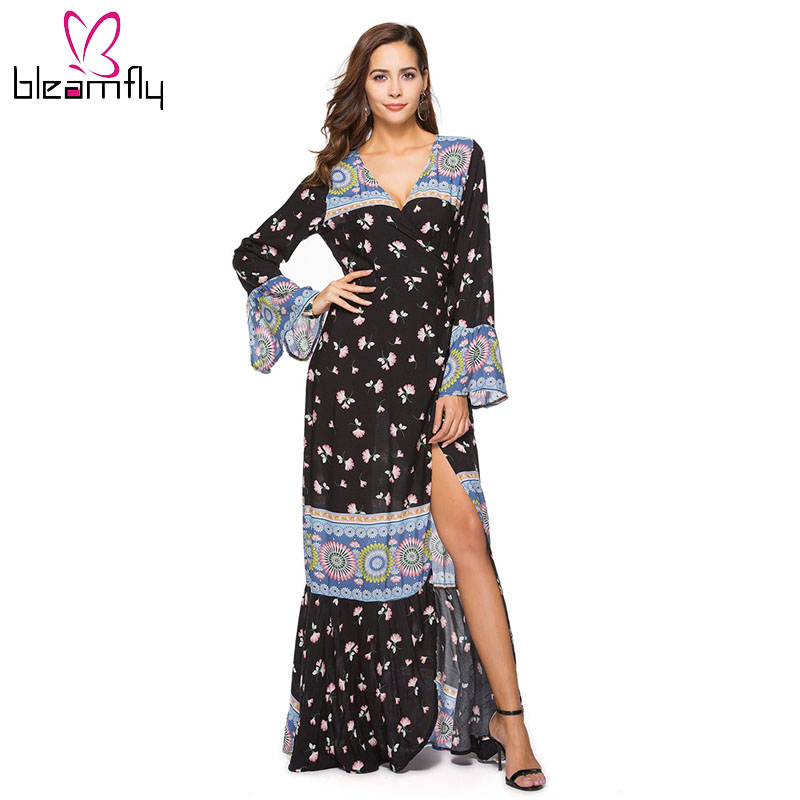 The Cheapest Price New Arrivals 2018 Women Summer Casual Print Beach Dress Sexy Vintage Elegant Fashion Long Dress Women's Clothing