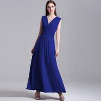 2016 Summer Women Dress Sexy Open Back V Neck Draped Gray Blue Long Dress Vintage Vestido