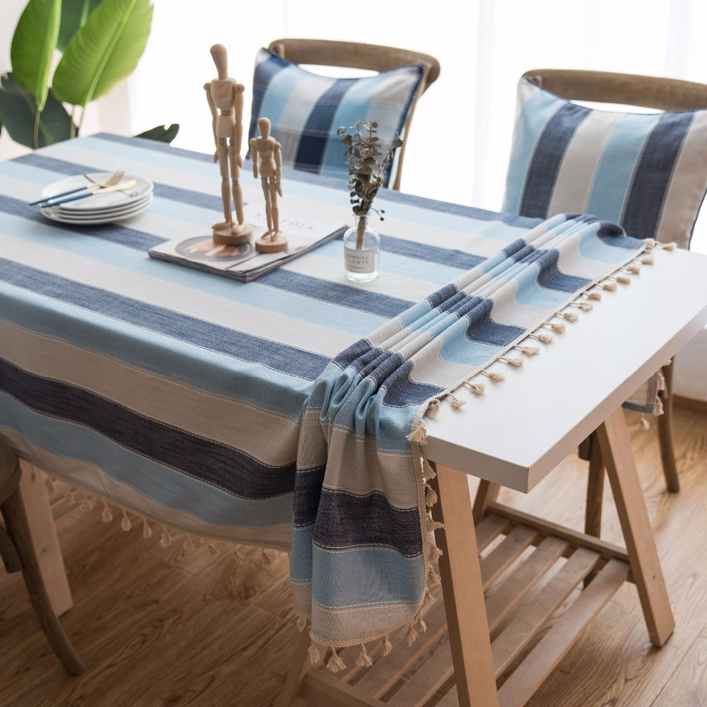 Striped Tassel Decorative Table Cloth Mediterranean Blue Kitchen Dining Cover Home Decor Living Room Coffee Tablecloth In Tablecloths From