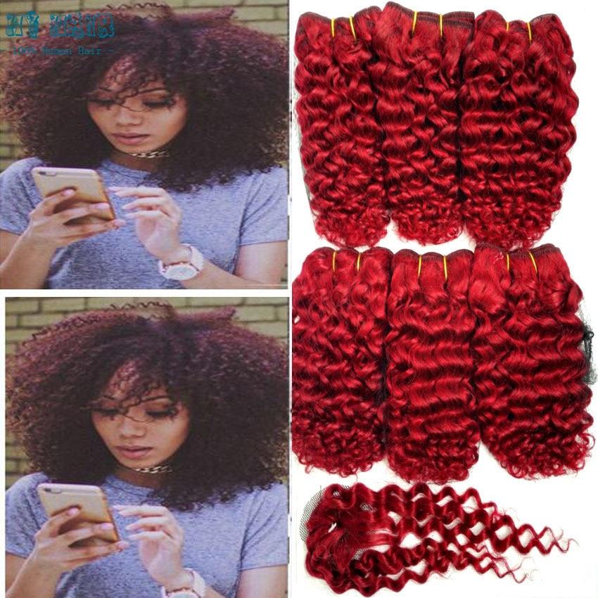 2016 Hot Sprzedaż Perwersyjne Kręcone Włosy Czerwony Kolor 6