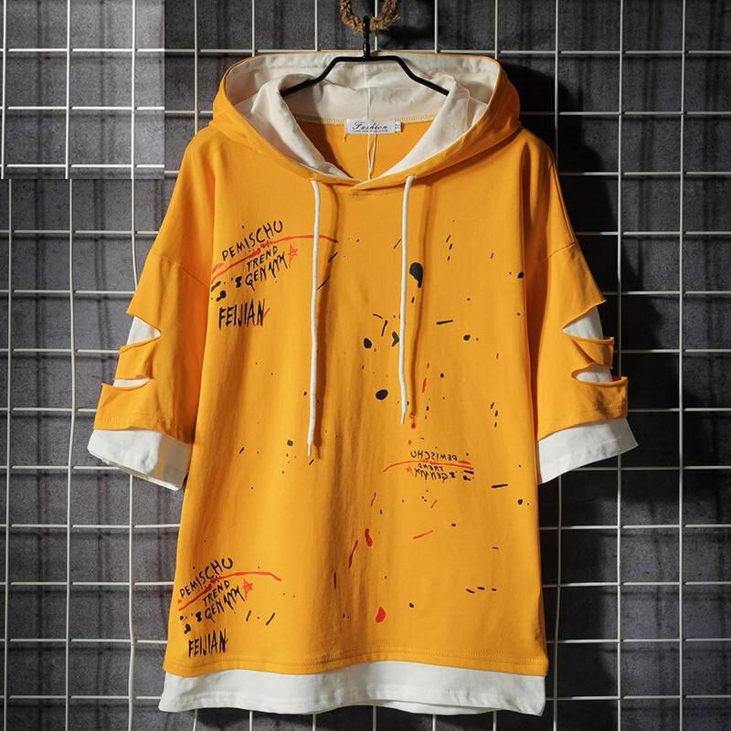Hip Hop Hooded   T  -  shirts   Men Women Korean Harajuku Oversized Tops Tee   Shirts   Fashion Hole   T     Shirt   Casual High Street   T     Shirts   Boy