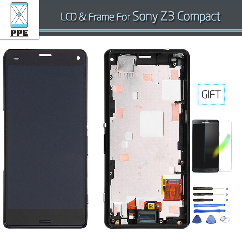 4.6 Inch LCD for Sony Xperia Z3 Compact Z3 Mini D5803 D5833 LCD display touch screen digitizer+frame assembly In AAA+++ Quality 100% original lcd display black touch screen digitizer assembly for sony xperia z3 mini compact d5803 d5833 with tools