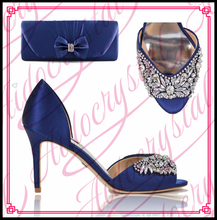2016 fashion deep blue rhinestones Peep toe Italian shoes with matching bags set for wedding African party shoes and bag set