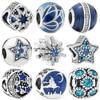 Blue Style Star Christmas Butterfly Moon Snowflake Bead Bracelet Women Charm DIY Jewelry