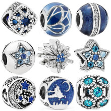 925 Silver Blue Style Star Christmas Butterfly Moon Snowflake Bead Fit Original Pandora Bead Bracelet Women Charm DIY Jewelry(China)