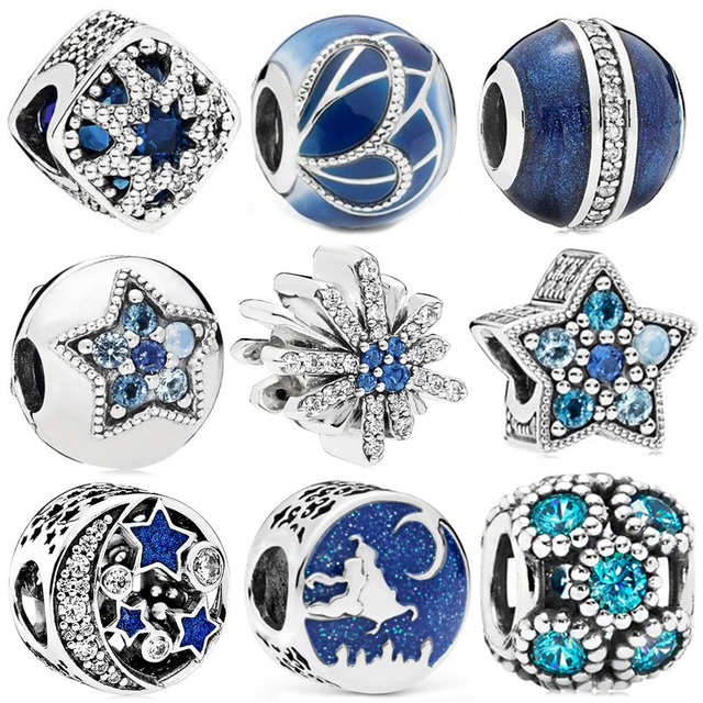 Silver Color Blue Style Star Christmas Butterfly Moon Snowflake Bead Fit Original Pandora Bead Bracelet Women Charm DIY Jewelry