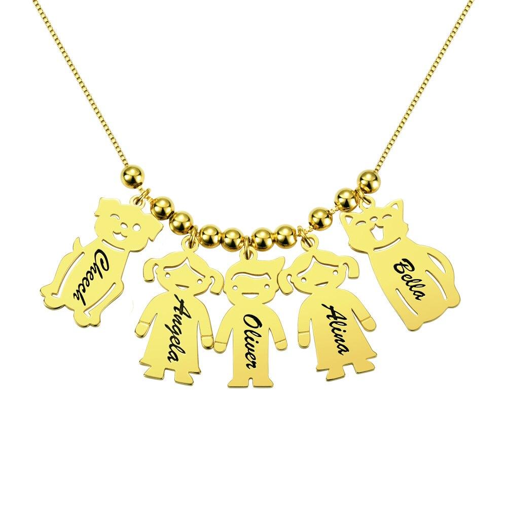 AILIN personnalisé gravé nom Date bébé garçon fille chien chat collier perles charme chaîne pour femmes enfant anniversaire famille cadeau - 5
