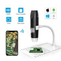 2MP WiFi Digital Microscope 50X to 1000X Magnifier 1080P HD 2.0 MP 8 LED with Stand for Android iOS PC