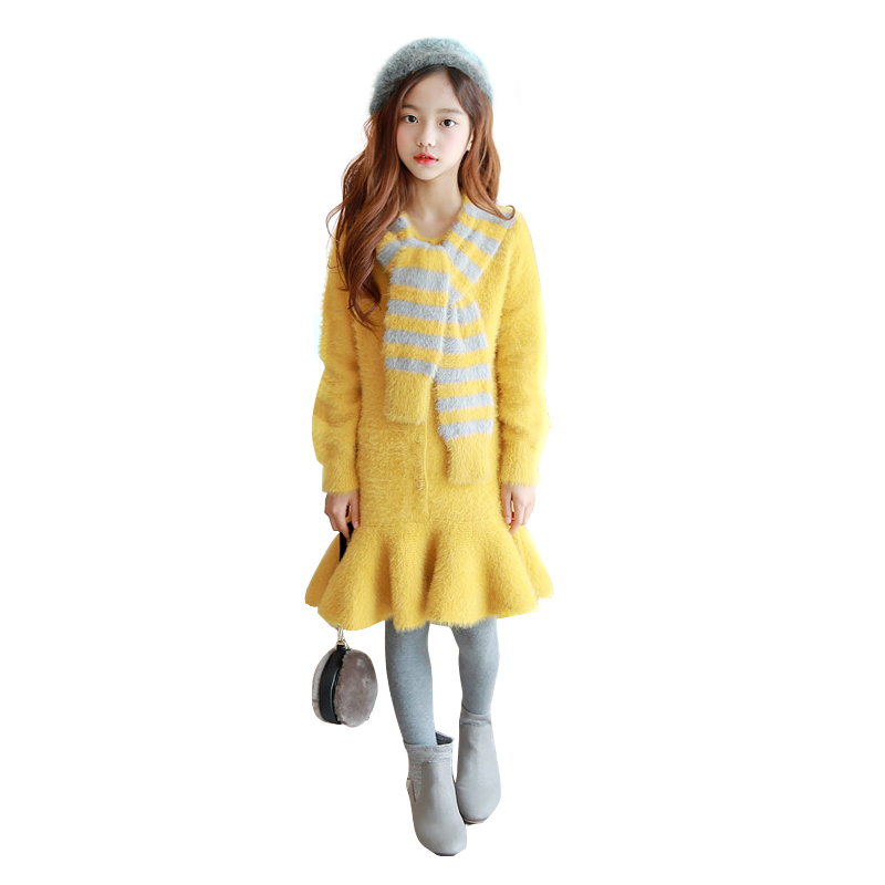kid thick warm sweater dress age for 4 - 16 yrs big girls winter knit autumn long-sleeve yellow ruffle frocks for teenage girls children clothes knit 2pcs set age for 4 14 yrs teenage girls winter thick warm school style outfits long sleeve sweater pants