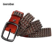 GEERSIDAN Newest High quality genuine leather men's Belt fashion luxury Metal Rivet Belt pin buckle belt for men strap for jeans